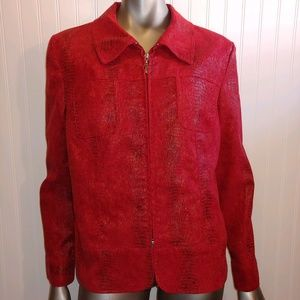 Erin London Red Zip Up Jacket - L